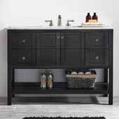 Florence 48'' Vanity Set in Espresso with Carrara White Marble Countertop, 48''W x 22''D x 35-7/8''H