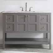 Florence 48'' Single Vanity Set in Grey with Carrara White Marble Countertop, 48''W x 22''D x 35-7/8''H