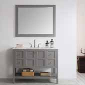 Florence 48'' Single Vanity Set in Grey with Carrara White Marble Countertop With Mirror, 48''W x 22''D x 35-7/8''H