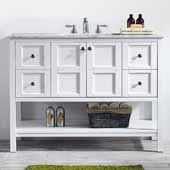 Florence 48'' Vanity Set in White with Carrara White Marble Countertop, 48''W x 22''D x 35-7/8''H