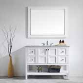 Florence 48'' Vanity Set in White with Carrara White Marble Countertop With Mirror, 48''W x 22''D x 35-7/8''H