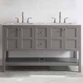 Florence 60'' Double Vanity Set in Grey with Carrara White Marble Countertop, 60''W x 22''D x 35-7/8''H