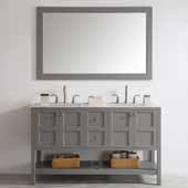 Florence 60'' Double Vanity Set in Grey with Carrara White Marble Countertop With Mirror, 60''W x 22''D x 35-7/8''H