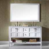 Florence 60'' Vanity Set in White with Carrara White Marble Countertop With Mirror, 60''W x 22''D x 35-7/8''H