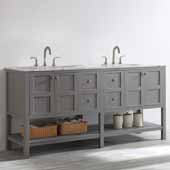 Florence 72'' Double Vanity Set in Grey with Carrara White Marble Countertop, 72''W x 22''D x 35-7/8''H