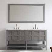Florence 72'' Double Vanity Set in Grey with Carrara White Marble Countertop With Mirror, 72''W x 22''D x 35-7/8''H