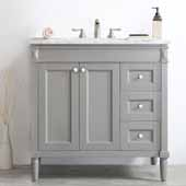 Catania 36'' Vanity Set in Grey with Carrara White Marble Countertop, 36-7/8''W x 22''D x 35-7/8''H