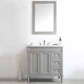 Catania 36'' Vanity Set in Grey with Carrara White Marble Countertop With Mirror, 36-7/8''W x 22''D x 35-7/8''H