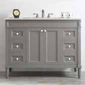 Catania 48'' Vanity Set in Grey with Carrara White Marble Countertop, 48''W x 22''D x 35-7/8''H