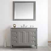 Catania 48'' Vanity Set in Grey with Carrara White Marble Countertop With Mirror, 48''W x 22''D x 35-7/8''H