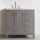Gela 36'' Single Vanity Set in Grey with Carrara White Marble Countertop, 36''W x 22''D x 36-1/8''H