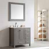 Gela 36'' Single Vanity Set in Grey with Carrara White Marble Countertop With Mirror, 36''W x 22''D x 36-1/8''H