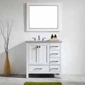 Gela 36'' Single Vanity Set in White with Carrara White Marble Countertop With Mirror, 36''W x 22''D x 36-1/8''H