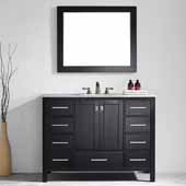 Gela 48'' Vanity Set in Espresso with Carrara White Marble Countertop With Mirror, 48''W x 22''D x 36-1/8''H