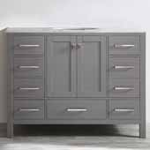 Gela 48'' Single Vanity Set in Grey with Carrara White Marble Countertop, 48''W x 22''D x 36-1/8''H