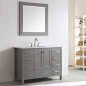 Gela 48'' Single Vanity Set in Grey with Carrara White Marble Countertop With Mirror, 48''W x 22''D x 36-1/8''H