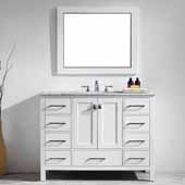 Gela 48'' Single Vanity Set in White with Carrara White Marble Countertop With Mirror, 48''W x 22''D x 36-1/8''H