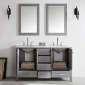 Gela 60'' Double Vanity Set in Grey with Carrara White Marble Countertop With Mirror, 60''W x 22''D x 36-1/8''H