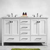 Gela 60'' Double Vanity Set in White with Carrara White Marble Countertop, 60''W x 22''D x 36-1/8''H
