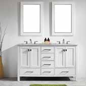 Gela 60'' Double Vanity Set in White with Carrara White Marble Countertop With Mirror, 60''W x 22''D x 36-1/8''H