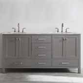 Gela 72'' Double Vanity Set in Grey with Carrara White Marble Countertop, 72''W x 22''D x 36-1/8''H