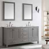 Gela 72'' Double Vanity Set in Grey with Carrara White Marble Countertop With Mirror, 72''W x 22''D x 36-1/8''H