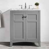 Arezzo 30'' Single Vanity Set in Grey with Carrara White Marble Top, 30''W x 22''D x 35-7/8''H