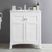 Arezzo 30'' Single Vanity Set in White with Carrara White Marble Top, 30''W x 22''D x 35-7/8''H