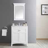Arezzo 30'' Single Vanity Set in White with Carrara White Marble Top With Mirror, 30''W x 22''D x 35-7/8''H