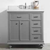 Charlotte 36'' Single Sink Vanity Set in Grey with Carrara Quartz Stone Top, 36''W x 22''D x 36-3/8''H