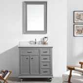 Charlotte 36'' Single Sink Vanity Set in Grey with Carrara Quartz Stone Top With Mirror, 36''W x 22''D x 36-3/8''H