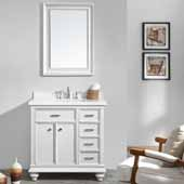 Charlotte 36'' Single Sink Vanity Set in White with Carrara Quartz Stone Top With Mirror, 36''W x 22''D x 36-3/8''H
