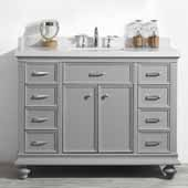 Charlotte 48'' Single Sink Vanity Set in Grey with Carrara Quartz Stone Top, 48''W x 22''D x 36-3/8''H