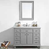 Charlotte 48'' Single Sink Vanity Set in Grey with Carrara Quartz Stone Top With Mirror, 48''W x 22''D x 36-3/8''H