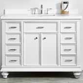 Charlotte 48'' Single Sink Vanity Set in White with Carrara Quartz Stone Top, 48''W x 22''D x 36-3/8''H