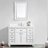 Charlotte 48'' Single Sink Vanity Set in White with Carrara Quartz Stone Top With Mirror, 48''W x 22''D x 36-3/8''H