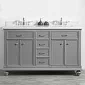 Charlotte 60'' Double Sink Vanity Set in Grey with Carrara Quartz Stone Top, 60''W x 22''D x 36-3/8''H