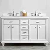 Charlotte 60'' Double Sink Vanity Set in White with Carrara Quartz Stone Top, 60''W x 22''D x 36-3/8''H