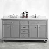 Charlotte 72'' Double Sink Vanity Set in Grey with Carrara Quartz Stone Top, 72''W x 22''D x 36-3/8''H