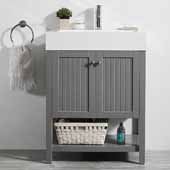 Pavia 28'' Single Sink Vanity Set in Grey with Acrylic under-mount Sink Top, 27-5/8''W x 19-11/16''D x 36-3/16''H