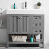 Pavia 36'' Single Sink Vanity Set in Grey with Acrylic under-mount Sink Top, 35-3/8''W x 18-1/8''D x 35-3/8''H