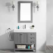 Pavia 36'' Single Sink Vanity Set in Grey with Acrylic under-mount Sink Top With Mirror, 35-3/8''W x 18-1/8''D x 35-3/8''H