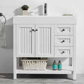 Pavia 36'' Single Sink Vanity Set in White with Acrylic under-mount Sink Top, 35-3/8''W x 18-1/8''D x 35-3/8''H
