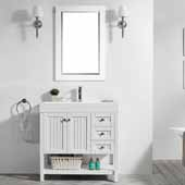 Pavia 36'' Single Sink Vanity Set in White with Acrylic under-mount Sink Top With Mirror, 35-3/8''W x 18-1/8''D x 35-3/8''H