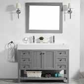 Pavia 48'' Single Sink Vanity Set in Grey with Acrylic under-mount Sink Top With Mirror, 47-3/16''W x 19-11/16''D x 35-13/16''H