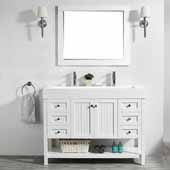 Pavia 48'' Single Sink Vanity Set in White with Acrylic under-mount Sink Top With Mirror, 47-3/16''W x 19-11/16''D x 35-13/16''H