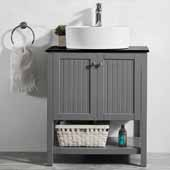 Modena 28'' Single Sink Vanity Set in Grey with Glass Countertop and White Vessel Sink, 28''W x 20''D x 31-11/16''H