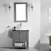 Modena 28'' Single Sink Vanity Set in Grey with Glass Countertop and White Vessel Sink, With Mirror, 28''W x 20''D x 31-11/16''H