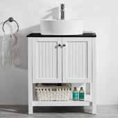Modena 28'' Single Sink Vanity Set in White with Glass Countertop and White Vessel Sink, 28''W x 20''D x 31-11/16''H