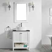 Modena 28'' Single Sink Vanity Set in White with Glass Countertop and White Vessel Sink, With Mirror, 28''W x 20''D x 31-11/16''H